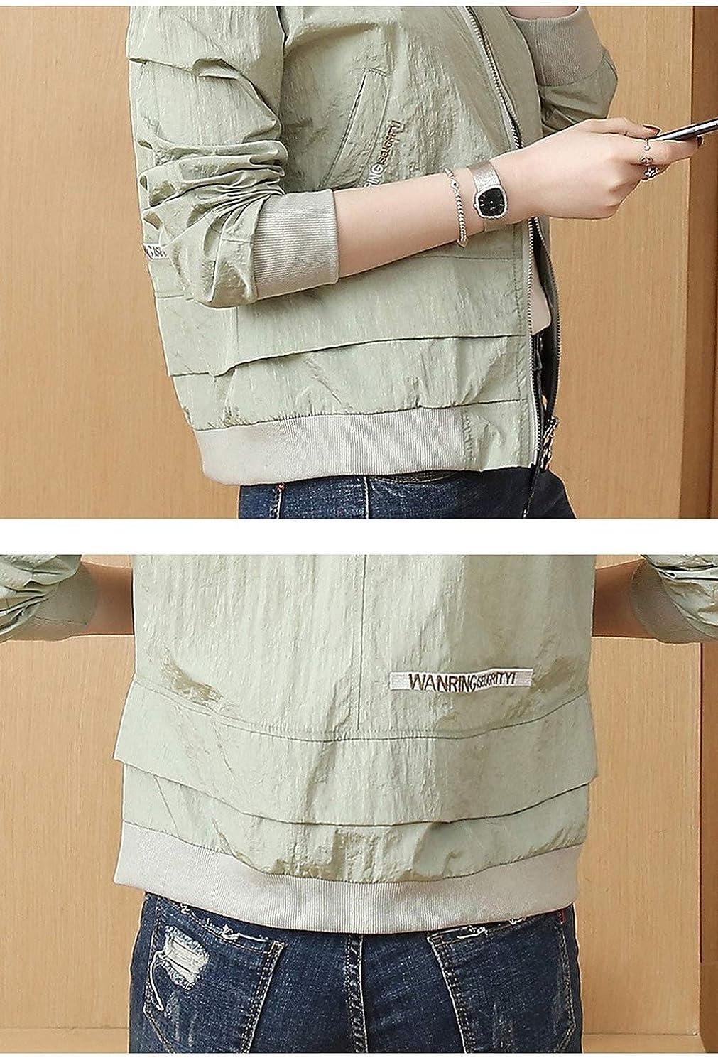 Susichou Coreano Versione della Lettera Ricamata Plissettata Manica Lunga da Baseball Uniforme Corta Giacca Cappotto Green