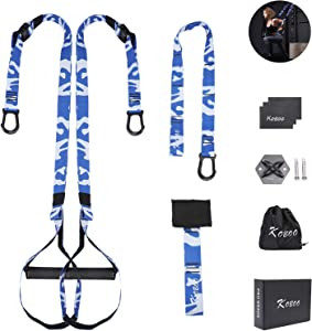 KOBOO Suspension Training Belt, Portable Bodyweight Resistance Straps Training with Fixed Anchor, Suspension Fitness Trainer Kit with Door Buckle for Total Body Workouts at Home Gym and Outdoor