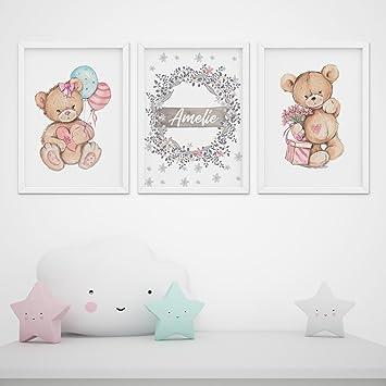 3er Set Kinderzimmer Babyzimmer Teddybaren Poster Wanddeko