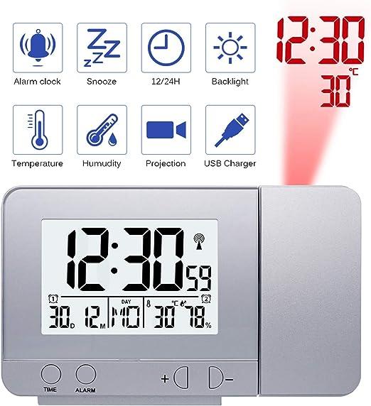 Konesky Reloj de proyección Digital, atenuador Reloj Despertador ...