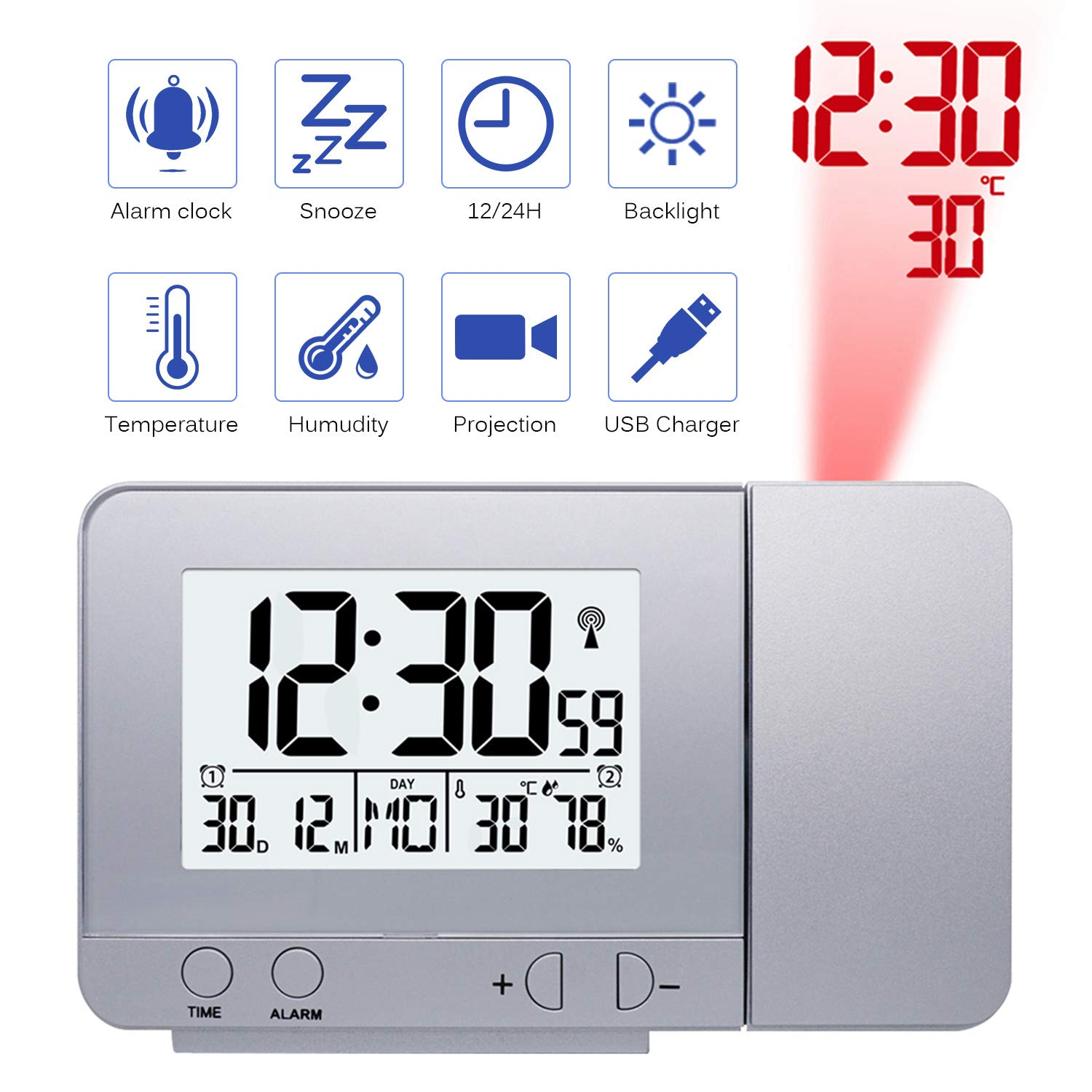 Konesky Digital Projection Clock, Dimmer Bedside Alarm Clock Time Temperature Protector Clock with Snooze Function Humudity Clock USB Battery Powered (Silver)