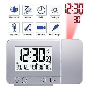 Konesky Reloj de proyección Digital, atenuador Reloj Despertador Hora Reloj Protector de Temperatura con función de repetición Reloj de Humedad Batería USB ...