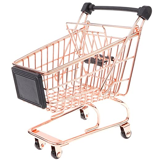 Amazon.com: Baoblaze Novelty Mini Shopping Cart Trolley Toy - Pen/Pencil/Cards Holder Desk Accessory - Rose Gold M: Toys & Games