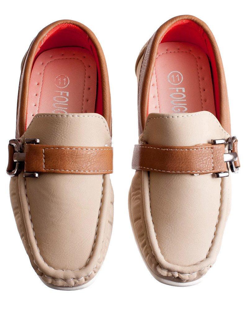 NEW Kids Tan / Khaki Slip on Loafer Style Dress Shoe, Toddler to Boys (Toddler 9)