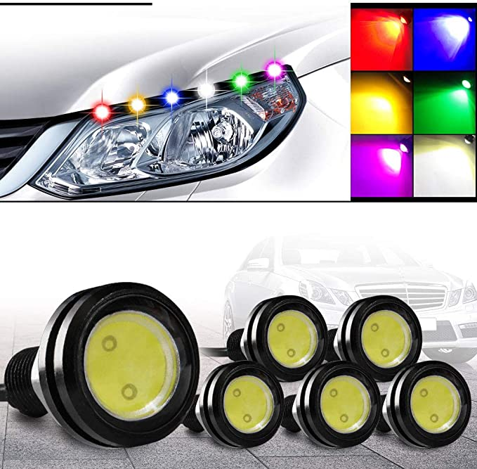 YITAMOTOR Eagle Eye LED 23MM Yellow Ultra Thin Black Shell High Power Blubs Daytime DRL Running Fog Tail Packing Reverse Backup Car Atmosphere Light for Car Motorcycle Bicycle Pack of 10