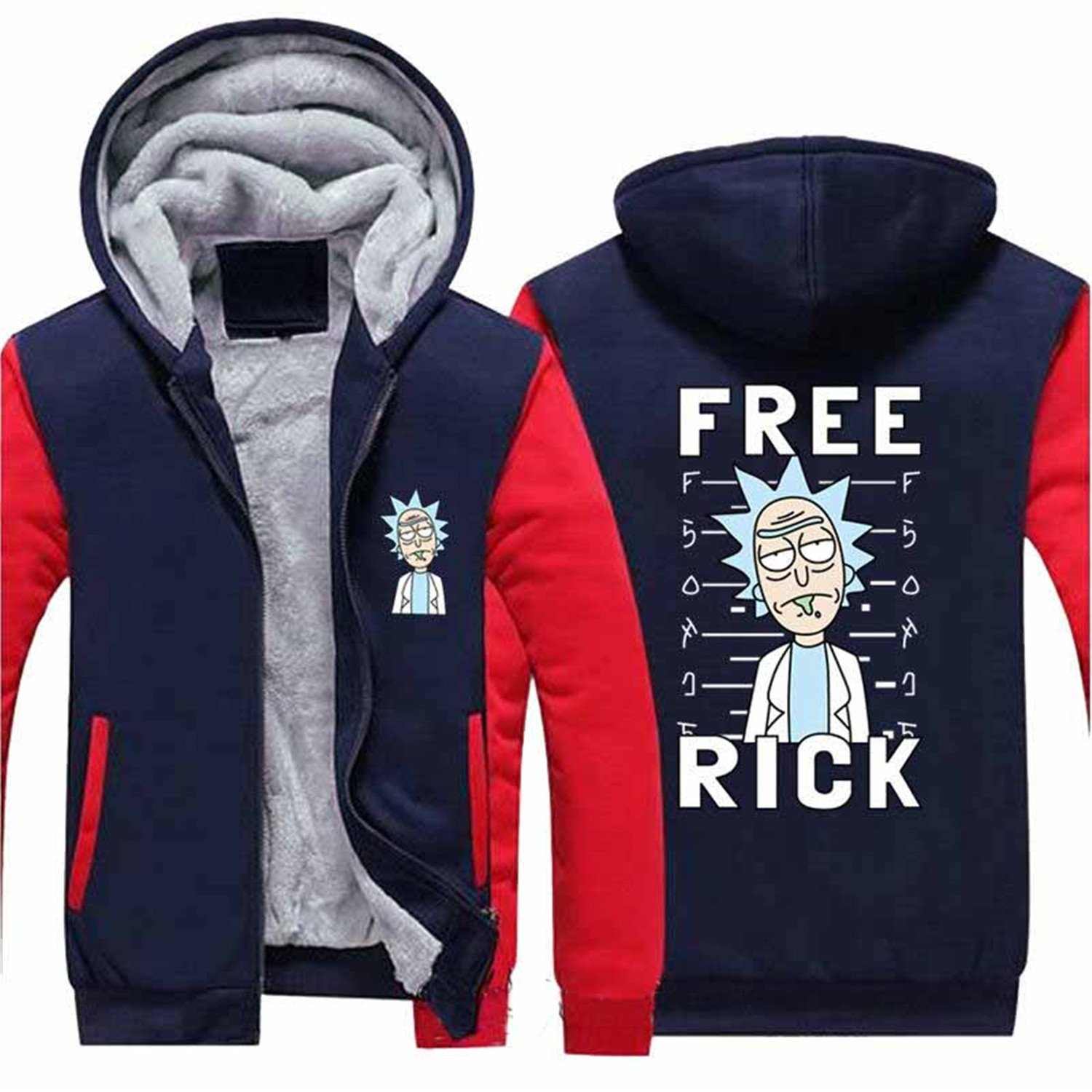 Men Winter Jackets Coats Rick and Morty hoodie Anime Hooded Thick Zipper Sweatshirts