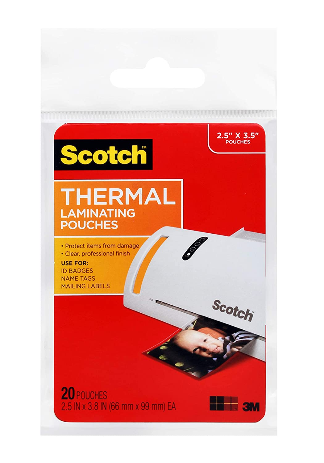Scotch Thermal Laminating Pouches Wallet Size 20-Pack TP5904-20 2.5 x 3.5-Inches
