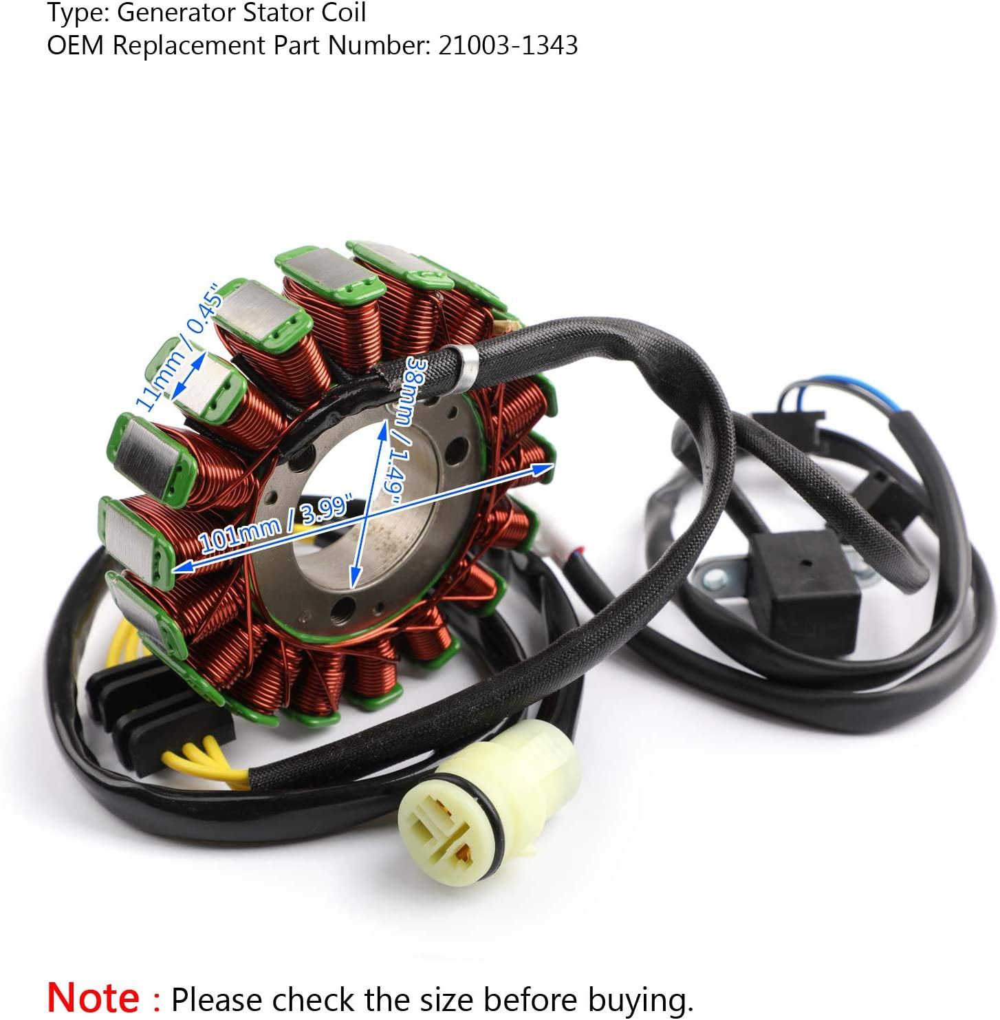 Areyourshop Magneto Generator Stator Coil for KVF300 Prairie 1999-2002 21003-1343