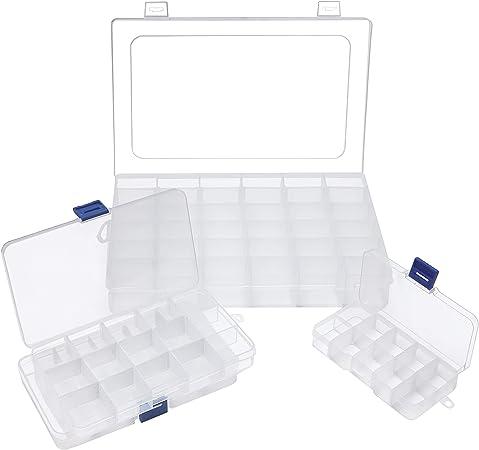 BELLE VOUS Caja Almacenamiento (Pack de 4) - 1 Grande, 2 Mediana y 1 Pequeña - Caja Organizadora Plastico con Compartimentos Desmontables para Joyas, Cuentas, Anzuelos, Accesorios de Costura: Amazon.es: Hogar