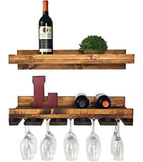 floating wine shelf and glass rack set wall mounted rustic pine wood handmade