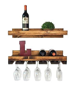 Floating Wine Shelf And Glass Rack Set (Wall Mounted), Rustic Pine Wood  Handmade