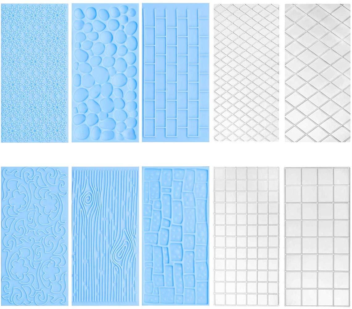 10 Pack Set Fondant Impression Mat,Embossed Tree Bark/Brick Wall/Flower/Cobblestone/Stone Wall Texture Design Fondant Impression Mat Mold Set for Chocolate Cupcake Topper Wedding Cake