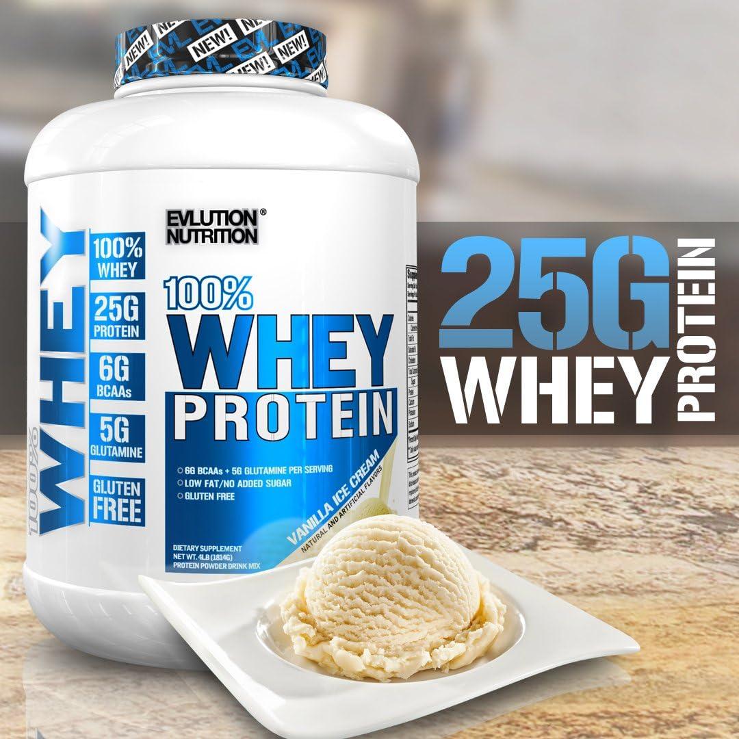 Evlution Nutrition 100% Whey, 25g de Proteína de Whey, 6g de BCAA, 5g de Glutamina, Libre de Gluten, 1.82 kg (Helado Vainilla)