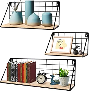 InnoGear Floating Shelves Wall Mounted Set of 3, Rustic Wood Storage Shelves for Bedroom, Bathroom, Living Room, Office, Kitchen