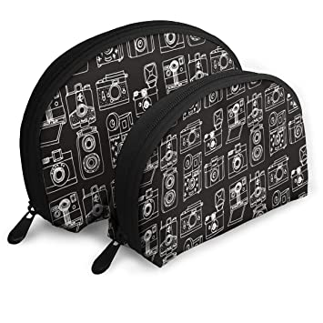 Amazon.com  JDISJLJ Cosmetic Travel Bag Vintage Cameras Black Shell ... 48b156736d