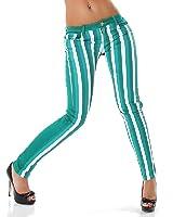 Jean stretch coupe-tubes de vert à rayures turquoise blanc été xS s m l :  34 36/38/40 de reals