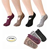 SANIQUEEN.G 4 Pairs Anti-slip Five Toe Yoga Pilates Socks Non Slip Skid Barre Sock with Grips for Women