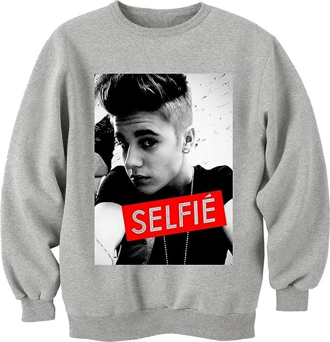 Justin Bieber Sexy Selfie Instagram Tumblr camiseta Unisex Crewneck-Sudadera gris XXL: Amazon.es: Ropa y accesorios