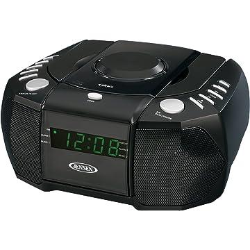 JENSEN JCR-310 AM/FM Stereo Dual Alarm Clock Radio with Top Loading CD