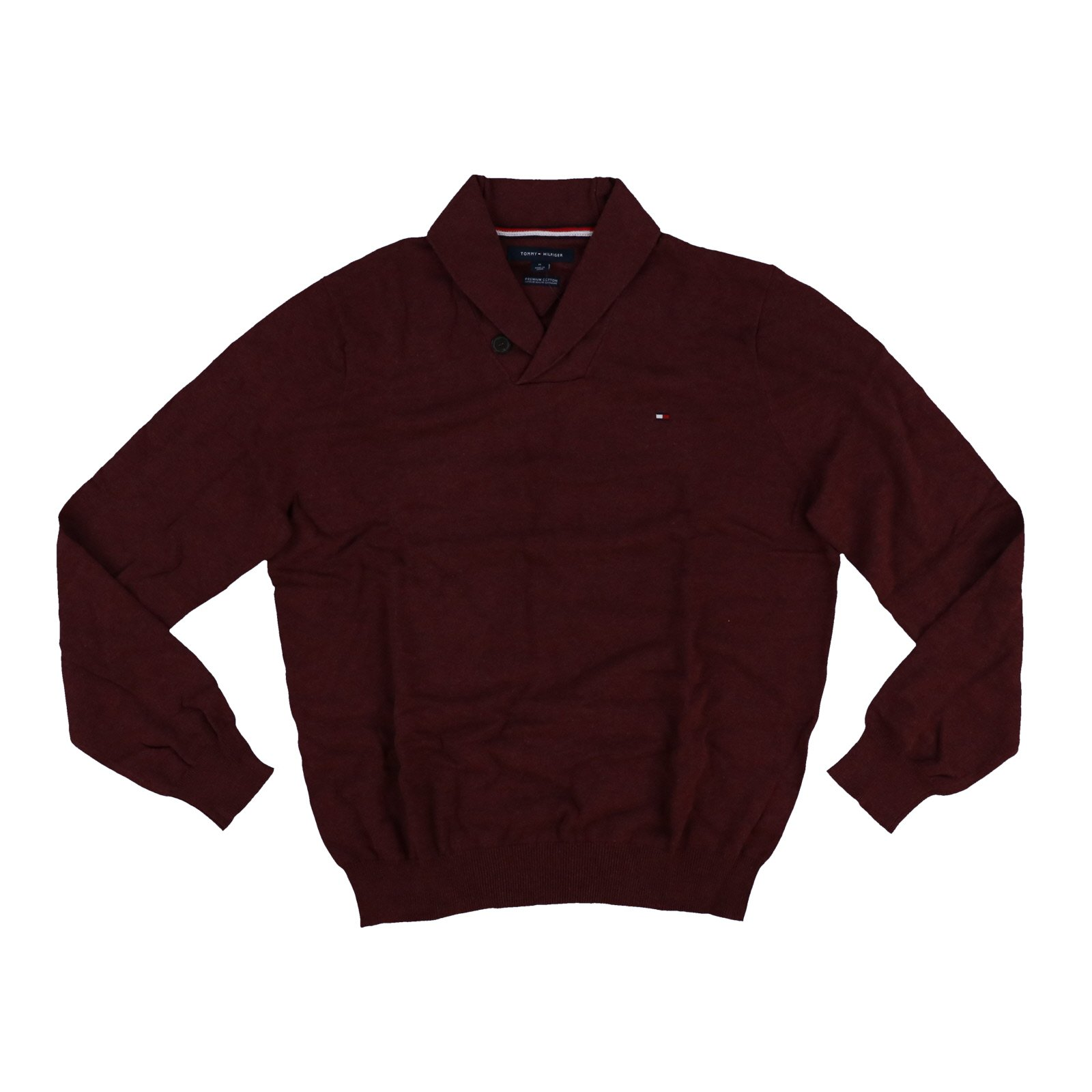 Tommy Hilfiger Mens Premium Cotton Shawl Neck Sweater (Medium, Zinfandel Heather)
