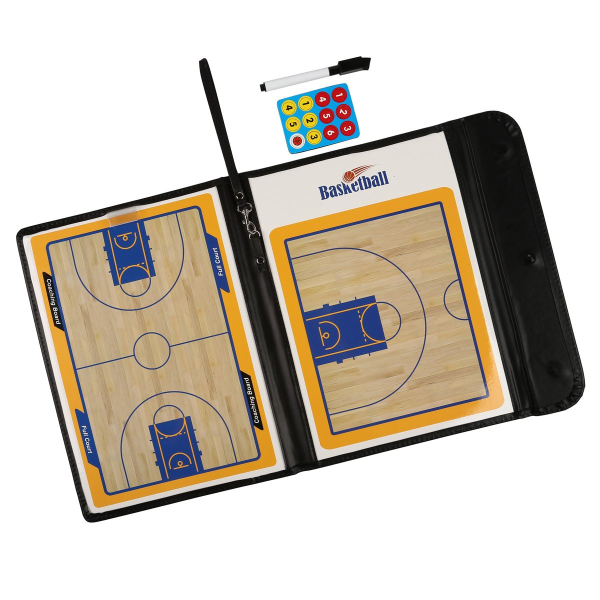 Fiturbo Folding Basketball Coach Board Plate Book Set With Pen Dry Erase Teaching Clip Coaching Clipboard