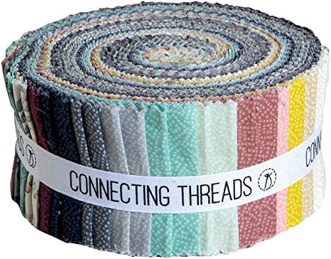 Connecting Threads Print Collection Precut Quilting Fabric Bundle Mums Garden - 5 Charm Squares