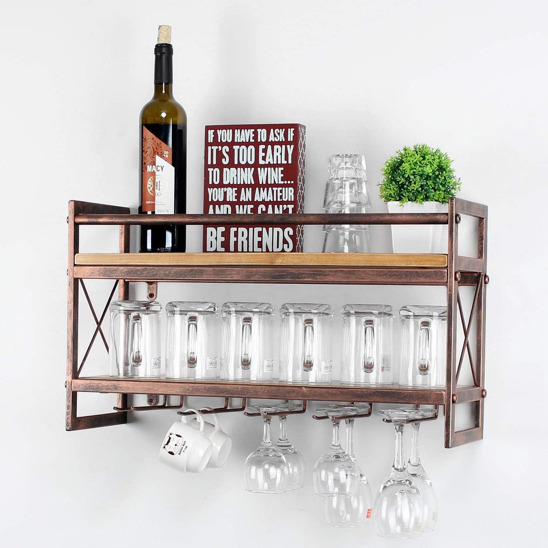 MBQQ Wine Rack Stemware Glass Rack,Industrial 2-Tier Wood Shelf,Wall Mounted Wine Racks with 5 Stem Glass Holder for Wine Glasses,Mugs,Home Decor,Retro Red
