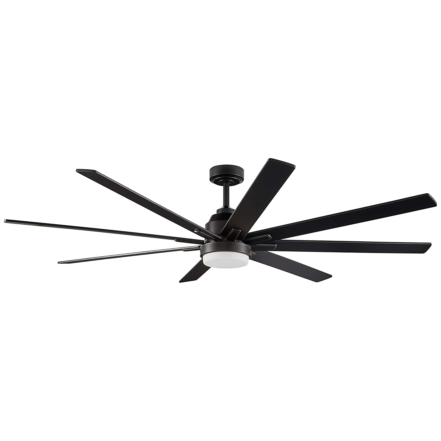 Rivet Modern Remote Control DC Motor Ceiling Fan with 18W Integrated LED Light. 72 W x 10 H, Black