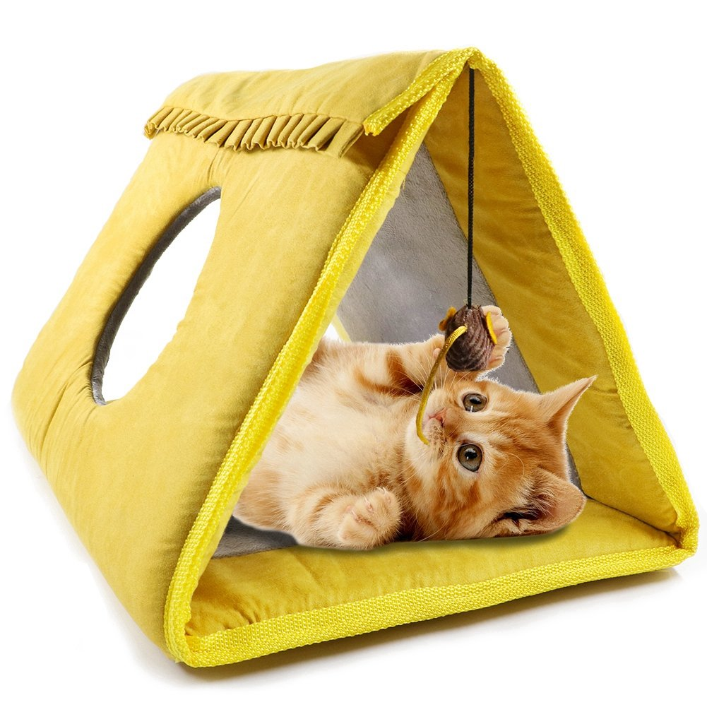 Cat Tunnel Bed with Sisal Scratching Board and Dangling Mice Toy for Scratching, Sleeping, Playing