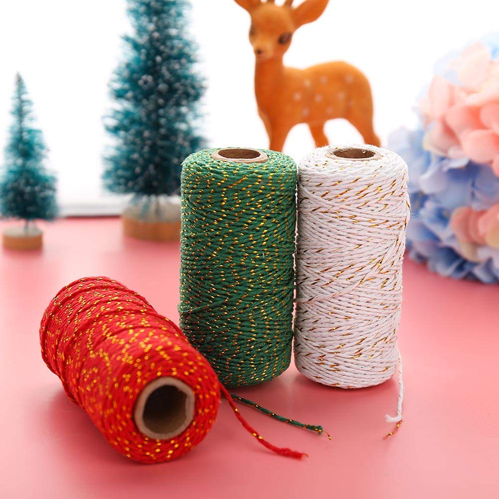 PORTOWN 984 Feet 2 mm Bakers Twine 3 Rolls 2Ply Cotton String Rope Gift Twine Christmas Twine Packing String for DIY Crafts Festive Decoration and Gardening
