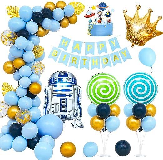 MMTX Globos Cumpleaños Decoraciones de Niño Fiestas Globo Robot Espacial Globo de látex Feliz Cumpleaños Banner Cake Topper para Cumpleaños Decoración De Banquete De Boda: Amazon.es: Hogar