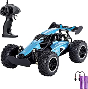 Geburun Remote Control Car,1:18 Scale High Speed Racing Car,2.4GHz Electronic Racing Vehicle Truck,Radio Controlled RC Toy Cross-Country Car with Rechargeable Batteries for All Age- Blue