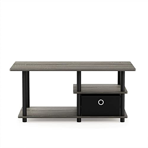 Furinno Turn-N-Tube Toolless Toollest TV Stand up to 45 , French Oak Grey Black