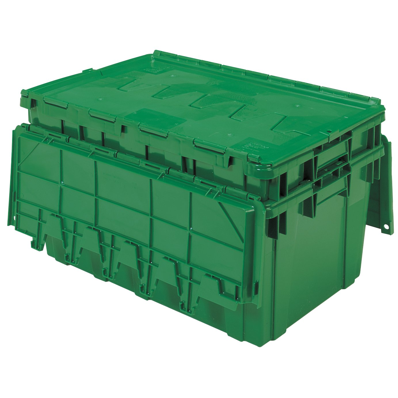 Buckhorn AR2717120204000 Attached Lid Flip Top Storage and Distribution Plastic Tote, 27-Inch x 17-Inch x 12-Inch, Green