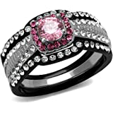 Womens Two Tone Ion Plated Black Stainless Steel Light Rose Cubic Zirconia Ring Set