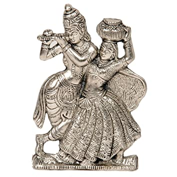 Buy Greentouch Crafts Antique White Metal Lord Radha Krishna Idol