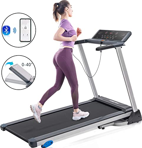 Merax Electric Folding Treadmill with Phone Tablet Holder, Easy Assembly Compact Running Machine for Home