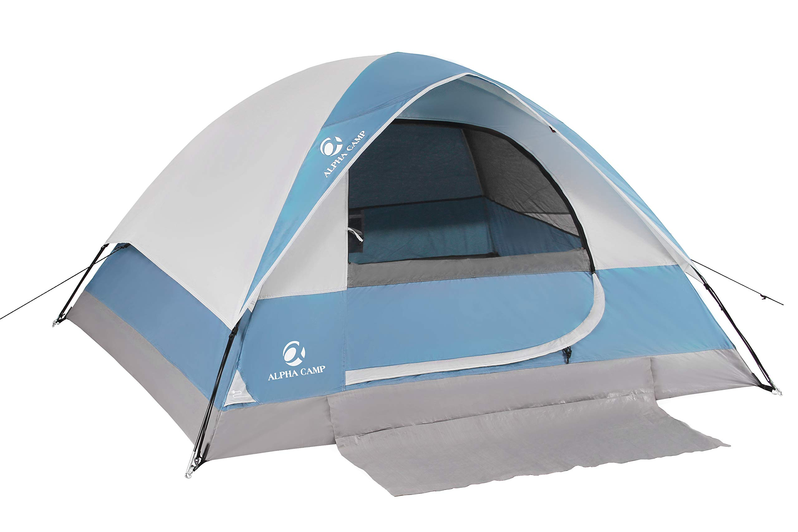 ALPHA CAMP 2-Person Camping Dome Tent with Carry Bag, Lightweight Waterproof Portable Backpacking Tent for Outdoor Camping/Hiking/Beach, Blue by ALPHA CAMP