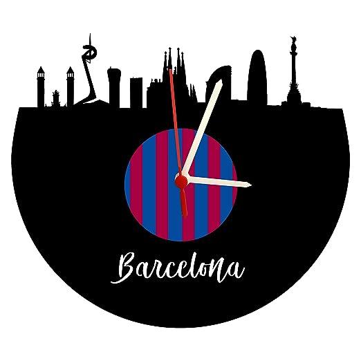 Reloj de Pared con Mecanismo de Cuarzo, diseño de Barcelona Skyline, Color Azul y Rojo: Amazon.es: Relojes