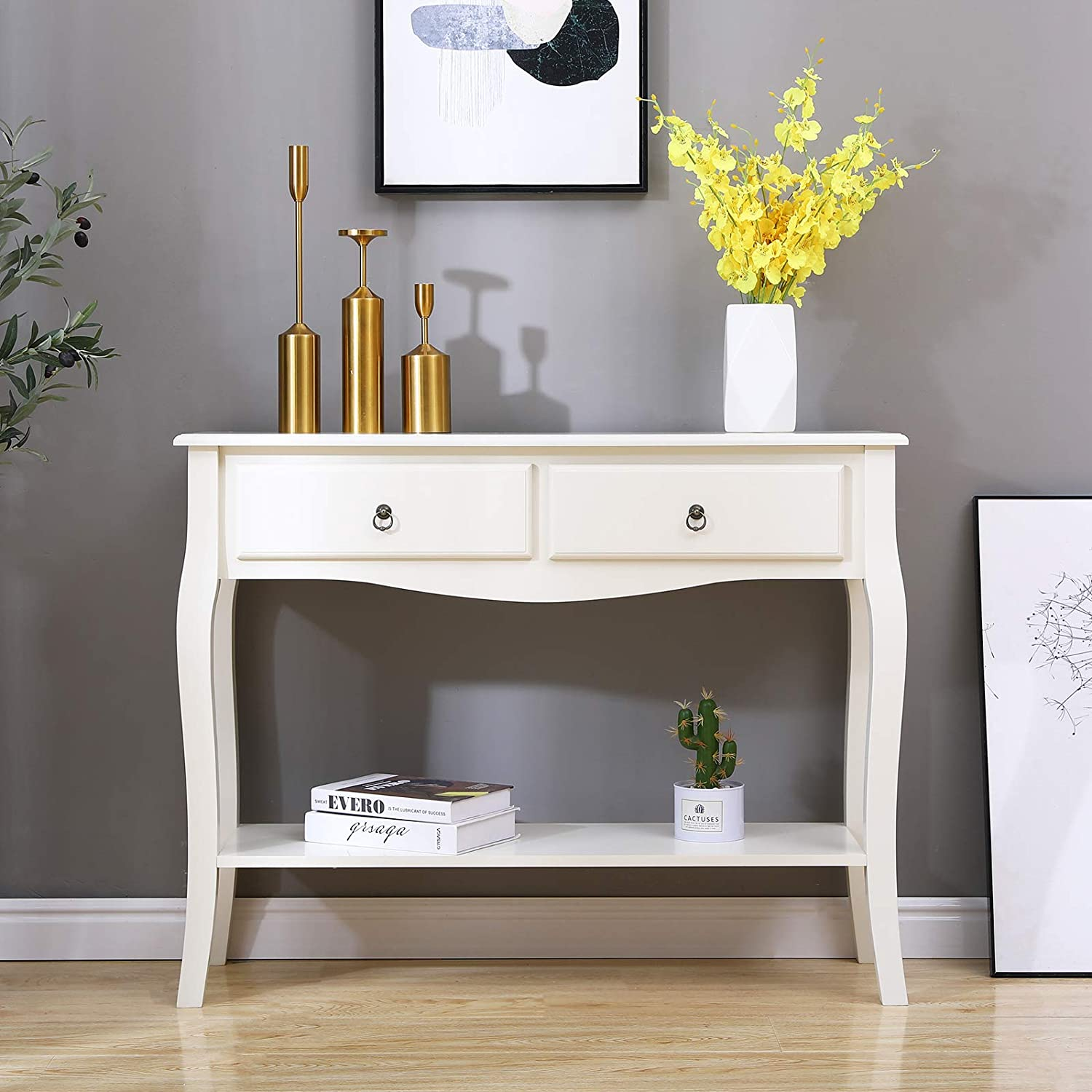 DlandHome Console Table with Drawers and Storage Shelf Hall Rack Entry Hall Table Living Room Table Sofa Table for Living Room /& Entryway DCA-BSB-011