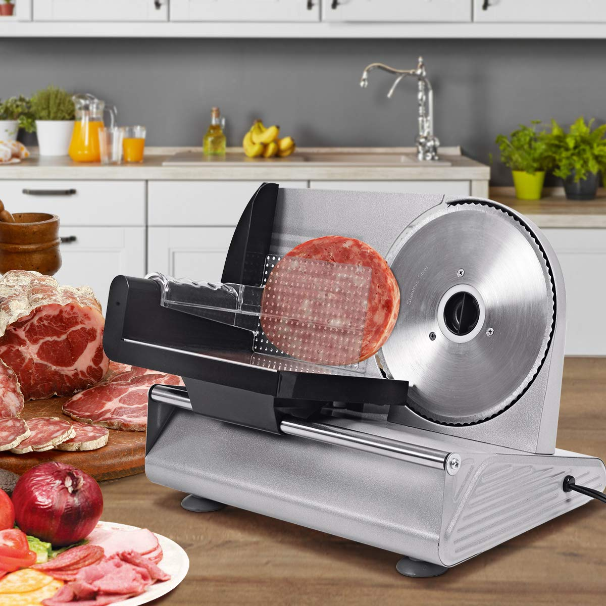 COSTWAY 160W Electric Meat Slicer Machine with Blade Safety Switch &  Non-Slip Feet, 19cm Stainless Steel Blade for Precision Slicing, Adjustable  Slice