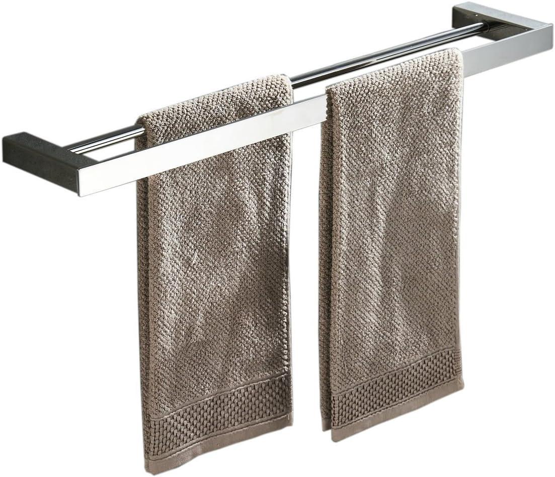 qobobo Portasciugamani da Parete a 2 Doppi Bracci 180/° Rotante Porta Asciugamani in Acciaio Inossidabile Spazzolato 40CM
