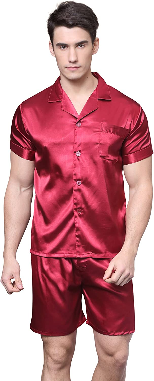 TONY AND CANDICE Men's Short Sleeve Satin Pajama Set with Shorts