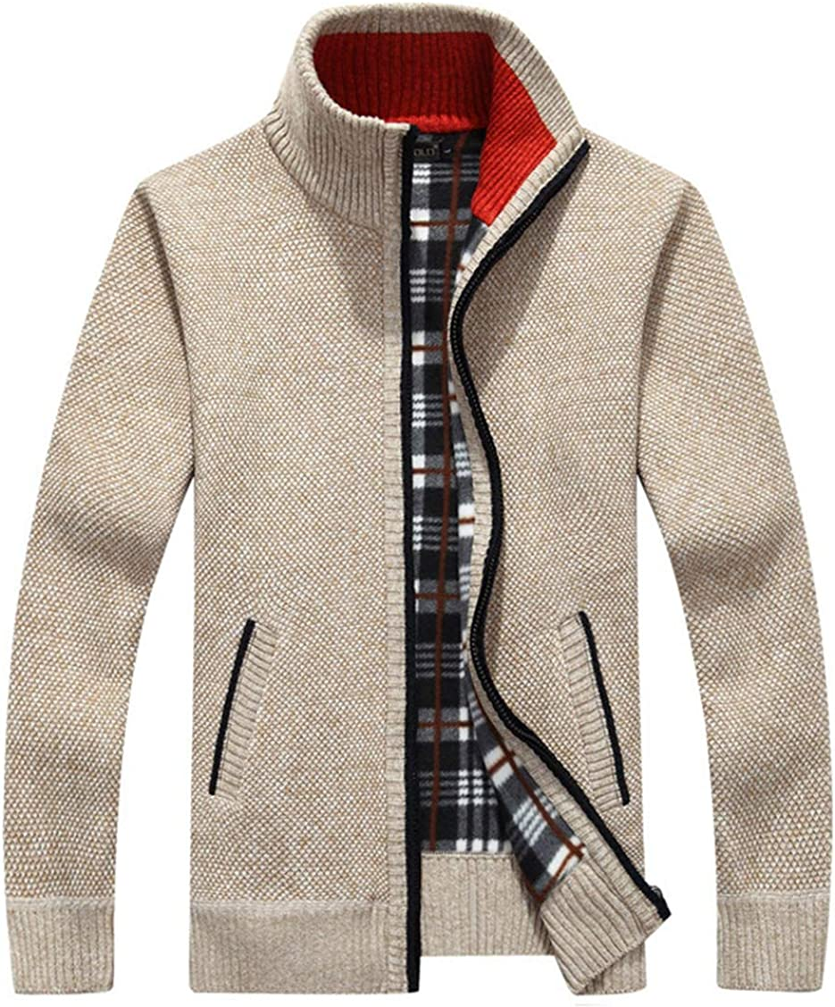 INIBUD Mens Knit Cardigan Sweater Casual Slim Zip Up with Pockets