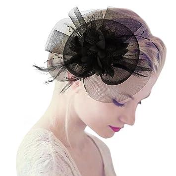 Lunji tocado de pelo para mujer estilo vintage diseño de plumas de malla  para fiesta cóctel 838e54a1fd5