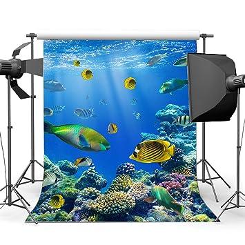 SUNNY Star 5 x 7ft telón de fondo mundo submarino acuario luces de vinilo Fancy Coral ...