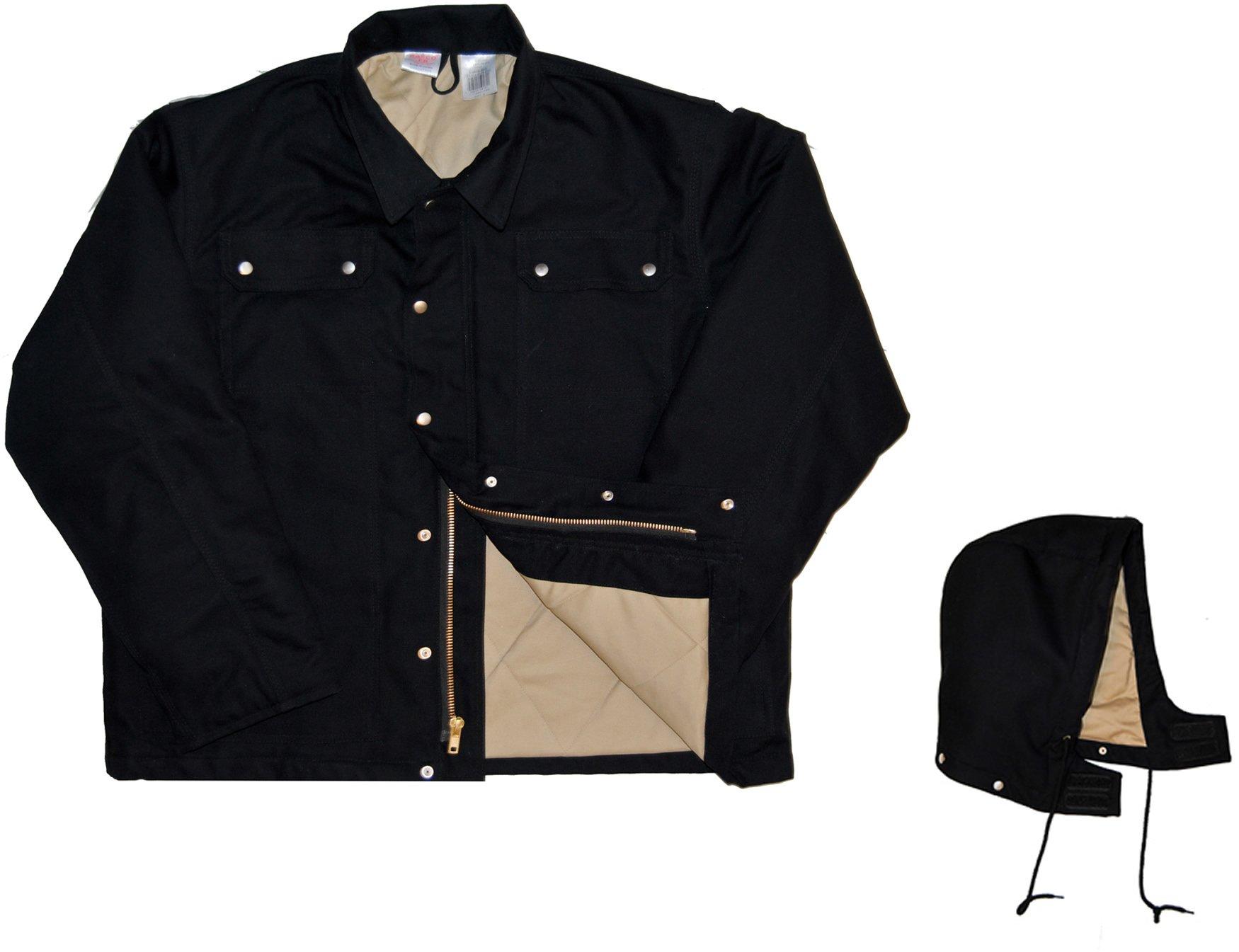 Rasco FR Heavy Black Coat with Hood BLHC2426 Flame Resistant Jacket, Black, 2X Tall