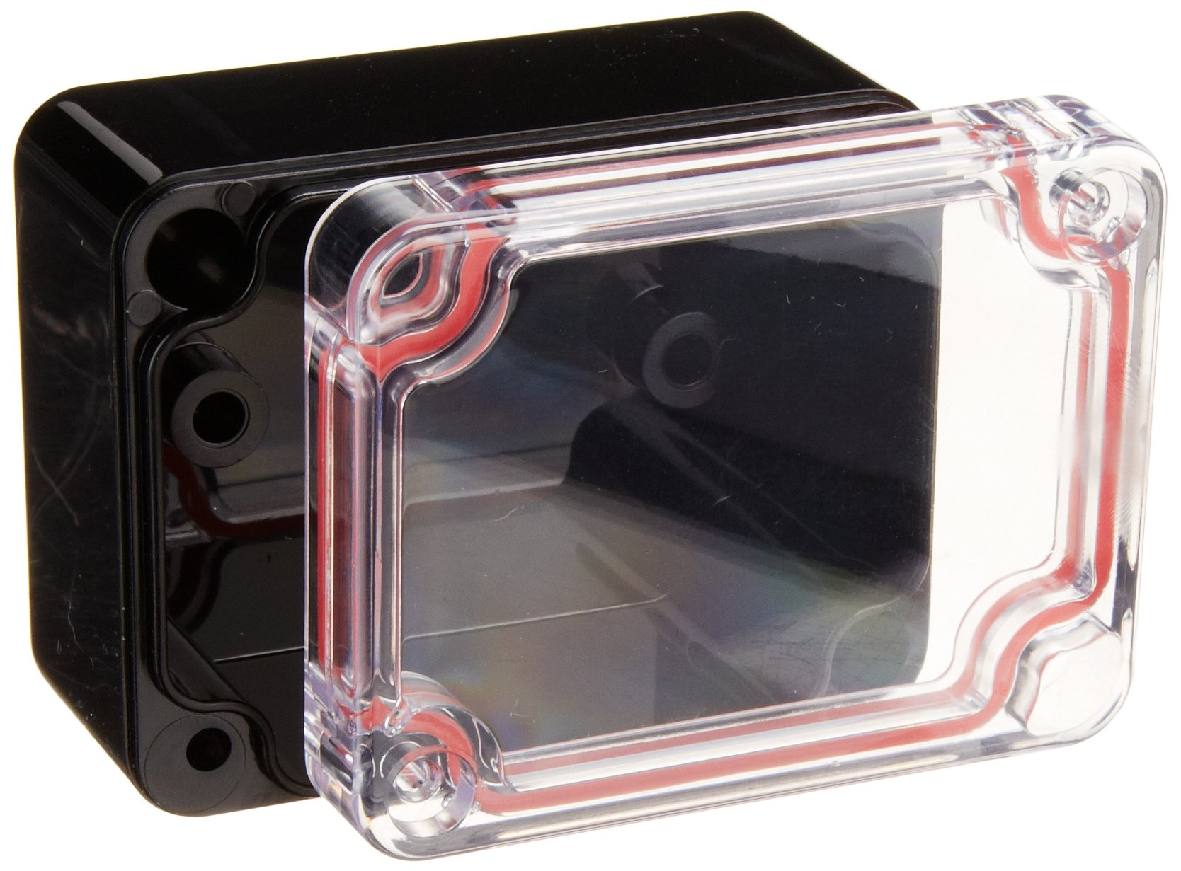 Serpac RB22-1TC1BB Polycarbonate Plastic Enclosure, 2.55'' Length x 1.97'' Width x 1-3/8'' Height, Top Clear/Bottom Black