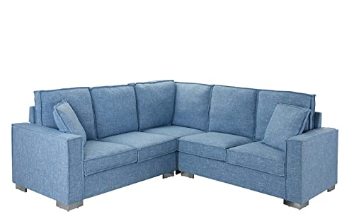 Modern Living Room Linen Fabric Sectional Sofa, L Shape Couch Light Blue