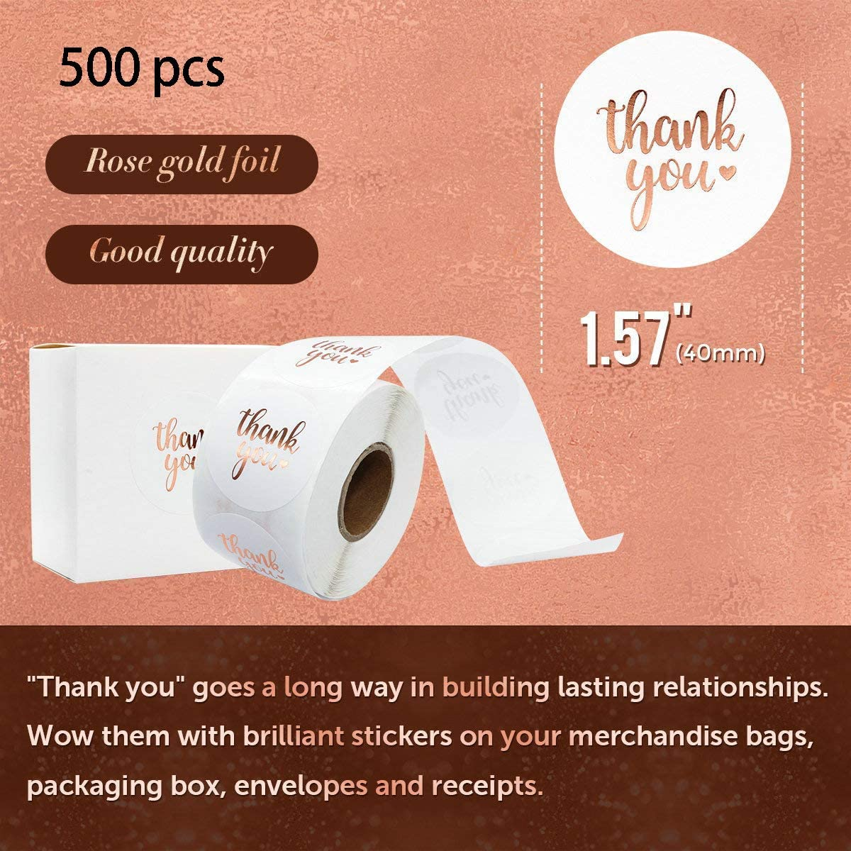 Decoration Boxes Foil Pink Thank You Stickers Roll 1.5 Thank You Stickers Small Business Foil Thank You Tags 500 Labels//Roll for Envelope Gift Bags